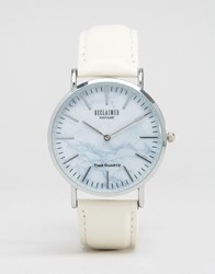 Reclaimed Vintage Marble Leather Watch In White White