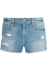 Frame Denim Le Cutoff Distressed Stretch Denim Shorts Mid Denim