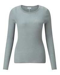 Jigsaw Rib Jumper With Back Pointelle Pastel Green