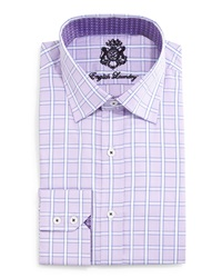 English Laundry Windowpane Check Woven Dress Shirt Purple
