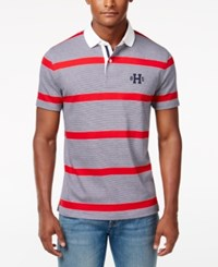 Tommy Hilfiger Men's Big And Tall Teague Striped Polo Tango Red Pt Multi