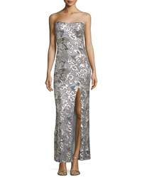 Marina Floral Sequined Strapless Gown Silver