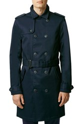 Men's Topman Navy Bonded Twill Trench Coat