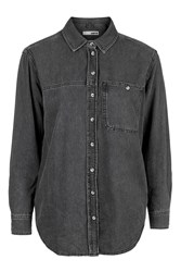 Topshop Moto Oversized Denim Shirt Washed Black