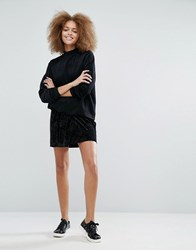 Monki Velvet Wrap Mini Skirt Black