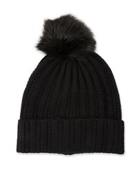 Neiman Marcus Knit Wool Blend Pompom Hat Black