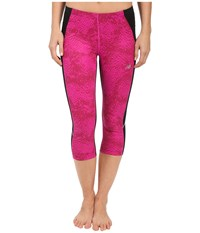 New Balance Printed Accelerate Capri Pants Azalea Multi Black Women's Capri Pink