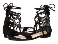Isa Tapia Theos C Black Kid Suede Crystals Women's Dress Sandals