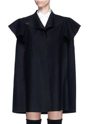 Valentino Quilted Ruffle Trim Virgin Wool Cape Jacket Black