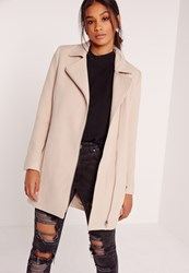 Missguided Faux Wool Biker Coat Cream Ivory