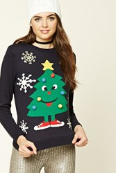 Forever 21 Light Up Holiday Tree Sweater Navy