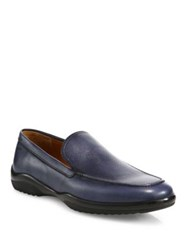 Bally Leather Loafers Dark Navy