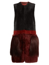 Bottega Veneta Fur Pocket Shearling Gilet Burgundy Multi