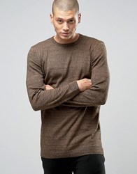 Asos Longline Crew Neck Cotton Jumper Camel And Black Twist Brown