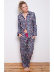 Cyberjammies Louisa Pansy Print Pyjama Set Grey Multi