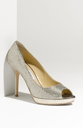 Jimmy Choo 'Luna' Open Toe Pump Champagne Glitter Fabric