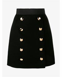 Dolce And Gabbana A Line Skirt With Gold Buttons Black White Leopard
