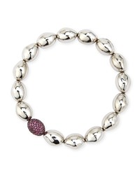 Molten Sterling Silver And Rhodolite Bead Stretch Bracelet Michael Aram