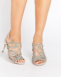 Faith Luther Silver Embellished Strappy Sandals
