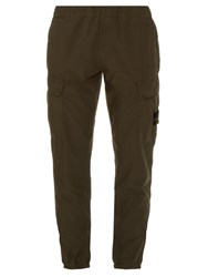 Stone Island Brushed Cotton Cargo Trousers Green