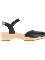 Swedish Hasbeens 'Covered Low Wedge' Sandals Black