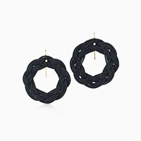 Tiffany And Co. Elsa Peretti Circle Hook Earrings In Black Woven Silk With 18K Gold.