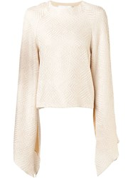 Christian Siriano Flared Sleeve Wrap Top Nude And Neutrals