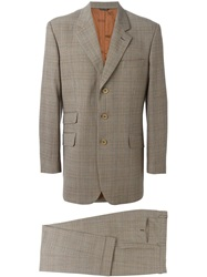 Moschino Vintage Checked Tweed Suit Brown