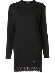 Dsquared2 Lace Hem T Shirt Dress Black