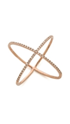Ef Collection Pave Gold Diamond X Ring Rose Gold Clear