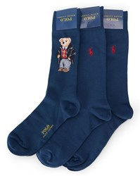 Polo Ralph Lauren 3 Pair Pack Of Blue Teddy Bear Socks