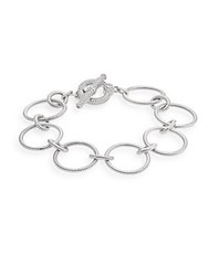 Judith Ripka Sterling Silver And White Sapphire Chain Toggle Bracelet