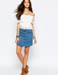 Wyldr Denim Pencil Skirt With Popper And Pockets Cream