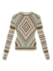 Valentino Diamond Stripe Crew Neck Sweater