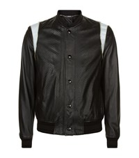 Just Cavalli Snake Effect Leather Bomber Jacket Male Black