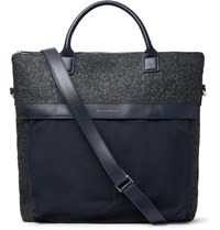 Want Les Essentiels O'hare Ii Leather Trimmed Melange Flannel And Canvas Tote Bag Navy