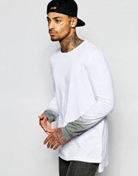 Asos Super Longline Long Sleeve T Shirt With Dip Dye Sleeves Whitegrey
