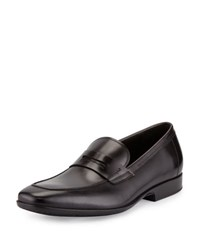 Salvatore Ferragamo Lancillotto Calfskin Penny Loafer On Rubber Sole Black Nero