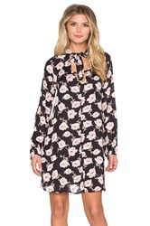 Lucca Couture Long Sleeve Floral Tie Shift Dress Black