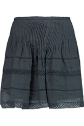 Isabel Marant Orka Pintucked Crochet Trimmed Ramie Mini Skirt Gray