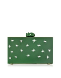 Charlotte Olympia Green Prickly Pandora Clutch Box W Cactus Clasp And Crystal Detail