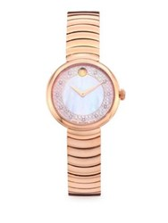 Movado Myla Diamond And Mother Of Pearl Rose Goldtone Stainless Steel Bracelet Watch