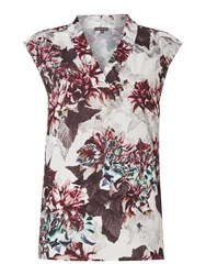 Pied A Terre V Neck Printed Woven Top Multi Coloured