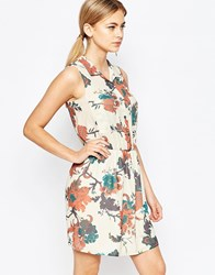 Love Sleeveless Shirt Dress In Floral Print Beige Floral