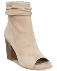 Kenneth Cole Reaction Fridah Coo Slouchy Peep Toe Ankle Booties Women's Shoes Beige