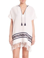 Tory Burch Cotton Woven Beach Poncho Ivory
