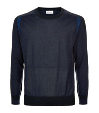 Brioni Contrast Cashmere Blend Sweater Male Navy