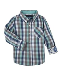 Andy And Evan Long Sleeve Poplin Gingham Shirt Light Green