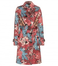 Burberry Printed Cotton Trench Coat Red