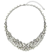 John Lewis Statement Faux Pearl And Glass Stone Collar Necklace Silver White